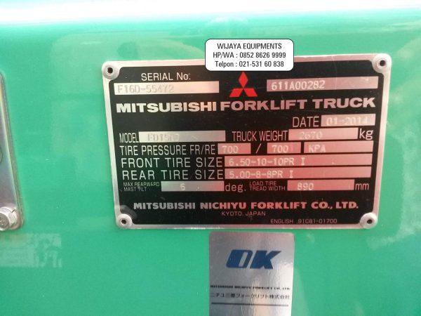 Name Plate Mtisubishi Forklift